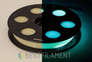 Светящийся в темноте PLA пластик Bestfilament для 3D-принтеров, цвет бирюзовый, 0,5 кг (1,75 мм)
